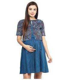 Mine4Nine Rayon Maternity Dress With Shrug Paisley Print - Blue