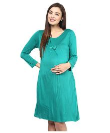 Mine4Nine Half Sleeves Lycra Maternity Dress Bow Applique- Green
