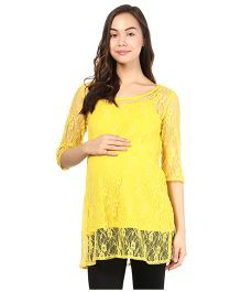 Mine4Nine Half Sleeves Lace Maternity Top - Yellow