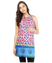 Mine4Nine Half Sleeves Cotton Maternity Top Hands Print - Multi Color