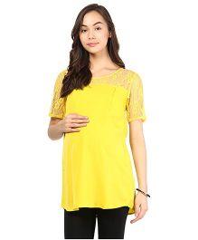 Mine4Nine Half Sleeves Crepe Maternity Top - Yellow