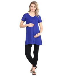 Mine4Nine Half Sleeves Crepe Maternity Top - Blue