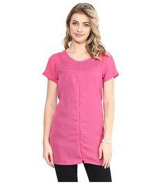 Mine4Nine Half Sleeves Crepe Maternity Top - Pink