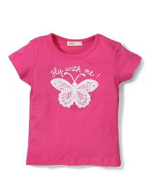 Fox Baby Half Sleeves T-Shirt Butterfly Print - Pink