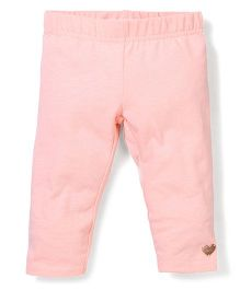 Pumpkin Patch Leggings Heart Patch - Peach