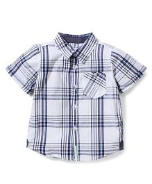 Pumpkin Patch Half Sleeves Shirt Checks Print - White and Navy