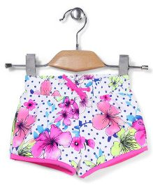 Pumpkin Patch Swim Shorts Floral Print - Pink and White