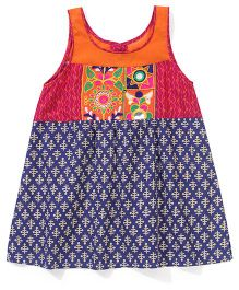 AlpnaKids Printed Tunic With Orange Embroidery Patch - Navy