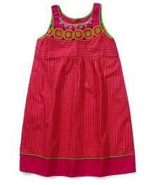 AlpnaKids Pretty Kurti With Floral Embroidery - Pink