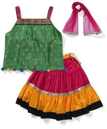 AlpnaKids Brocade Choli Skirt & Dupatta Set - Green Pink & Yellow