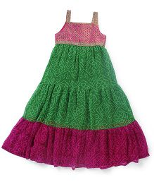 AlpnaKids Bandhini Gypsy Dress - Magenta & Green
