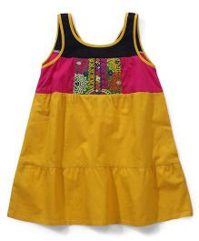 AlpnaKids Printed Kurti - Yellow Black & Pink
