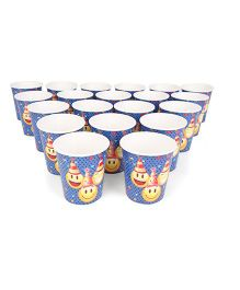 Karmallys Paper Cups Pack of 20 Smiley Face Print - Blue