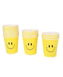 Karmallys Paper Cups Pack of 20 Smiley Face Print - Yellow