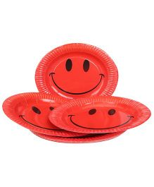 Karmallys Paper Plates Smiley Print Pack of 10 - Red