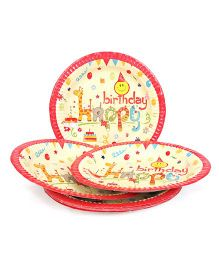 Karmallys Paper Plates HAppy Birthday Print Pack of 10 - Multi Color