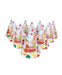 Karmallys Party Hats Birthday Party Print Pack of 10 - Multi Color