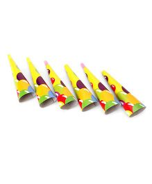 Karmallys Party Horns Ballons Print Yellow - Pack of 6