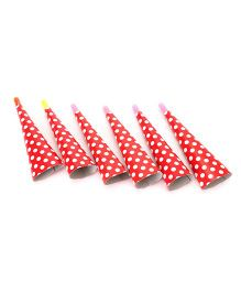 Karmallys Party Horns Dots Print Red - Pack of 6