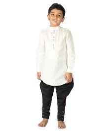 Tiber Taber Cotton Linen Tucks Kurta - Off-White