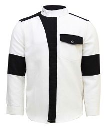 Tiber Taber Smart Band Collar Shirt - White & Black