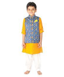 Tiber Taber Mouse Print Nehru Jacket - Blue