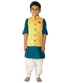 Tiber Taber Mouse Print Nehru Jacket With Pathani Set 3 Pc - Yellow & Teal Blue