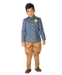 Tiber Taber Mouse Print Bandhgala With Jodhpuri Breeches 2 Pc Set - Indigo &Camel