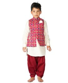 Tiber Taber Moroccon Print 3 Pc Pathani Set - Maroon & Off White