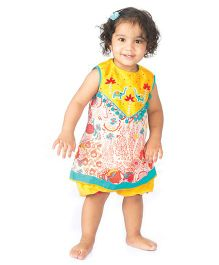 Tiber Taber Printed Yoke Embroidered Dress With Bloomers - Multicolor