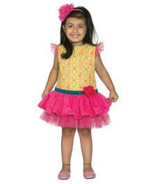 Tiber Taber Mouse Print Dress Yellow - Yellow & Pink