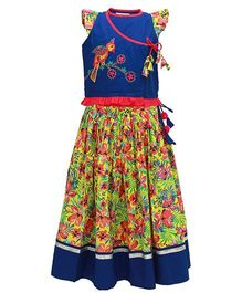 Tiber Taber Tropical Skirt With Quirky Choli - Blue & Yellow