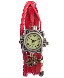 Angel Glitter Hipster Wrist Watch Flower Bead - Red