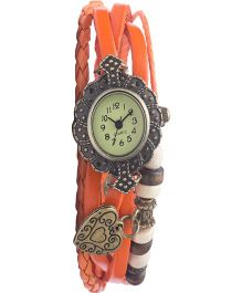 Angel Glitter Hipster Wrist Watch Heart Bead - Orange