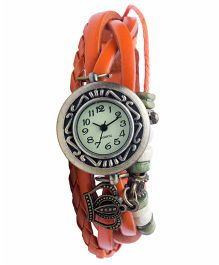 Angel Glitter Hipster Wrist Watch Crown Bead - Orange