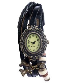 Angel Glitter Hipster Wrist Watch Bells Bead - Black