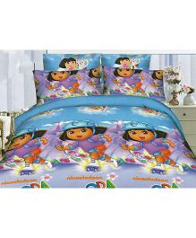 Dora Polyester Double Bedsheet And Pillow Cover - Multicolour