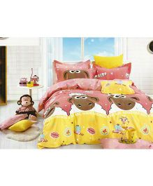 Shaun the Sheep Cotton Double Bedsheet And Pillow Cover - Multicolour