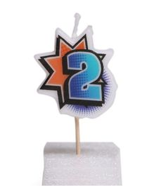Party In A Box Retro Numeric Candle - Number 2