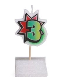 Party In A Box Retro Numeric Candle - Number 3