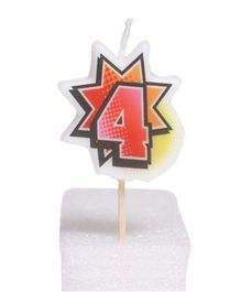 Party In A Box Retro Numeric Candle - Number 4
