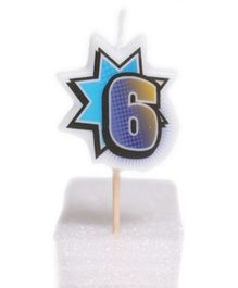 Party In A Box Retro Numeric Candle - Number 6