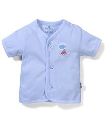 Child World Short Sleeves Vest Car Print - Sky Blue