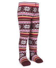 Mustang Footed Stocking Tights Flower Design - Maroon
