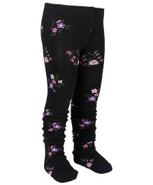 Mustang Footed Stocking Tights Floral Design - Black