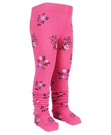 Mustang Footed Stocking Tights Flower Design - Pink