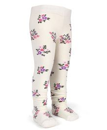 Mustang Footed Stocking Tights Flower Design - Off White