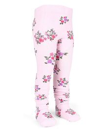 Mustang Footed Stocking Tights Flower Design - Light Pink