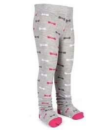 Mustang Footed Stocking Tights Bow Design - Grey & Pink