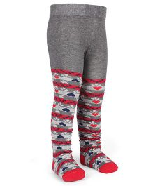 Mustang Footed Stocking Tights Heart Design - Grey & Red